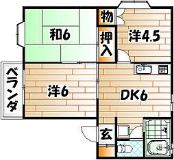 ベルエ福柳木[2階]の間取り