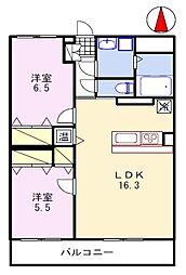 ブレイン福崎 3階2LDKの間取り