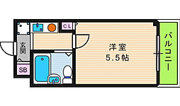プチ鶴ヶ丘[4階]の間取り