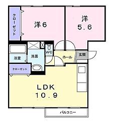 近鉄けいはんな線 荒本駅 徒歩19分の賃貸マンション 1階2LDKの間取り