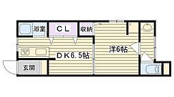 今福鶴見グリーンハイツ[104号室]の間取り