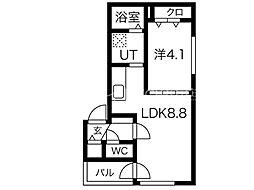 メニーズコート東屯田通 2階1DKの間取り