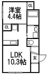 北海道札幌市白石区栄通13の賃貸マンションの間取り
