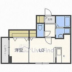 札幌市営東豊線 福住駅 徒歩7分の賃貸マンション 4階1LDKの間取り