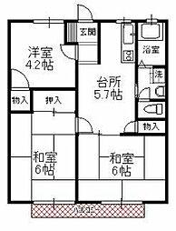 サンハイツ徳倉B[2階]の間取り