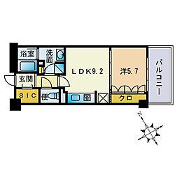 ザ・パークハウス福岡タワーズEAST 11階1LDKの間取り