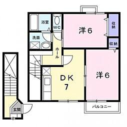 コーポシャルマンB棟[2階]の間取り