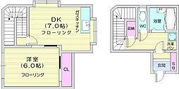 JR仙山線 東照宮駅 徒歩10分の賃貸マンション 2階1DKの間取り