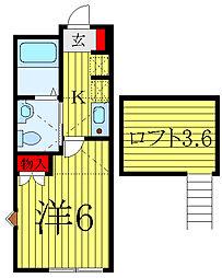 サザンスカイ大塚 2階1Kの間取り