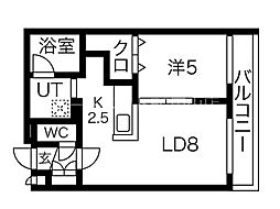 S-RESIDENCE桑園 1階1LDKの間取り