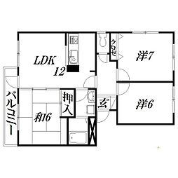 静岡県浜松市中区佐鳴台4丁目の賃貸マンションの間取り