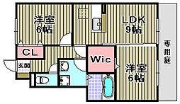 プラムパディーA棟[A103号室]の間取り