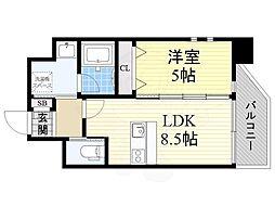 プレジオ江坂2 9階1LDKの間取り