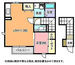 茨城県日立市田尻町5丁目の賃貸アパートの間取り