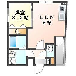 愛知県名古屋市中川区花池町2の賃貸アパートの間取り