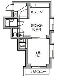 東京都狛江市元和泉3丁目の賃貸マンションの間取り