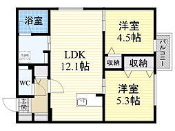 北海道札幌市中央区南19条西7丁目の賃貸マンションの間取り