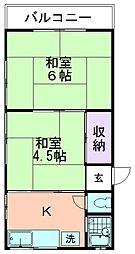 ハイツ田中[202号室]の間取り