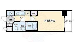 JR東海道・山陽本線 西大路駅 徒歩9分の賃貸マンション 5階1Kの間取り