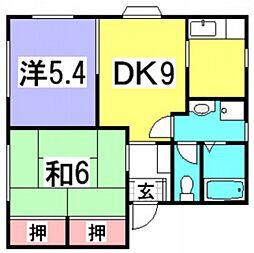 広島県広島市西区井口4丁目の賃貸アパートの間取り