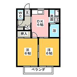アミューズメント銀鈴 A棟[1階]の間取り