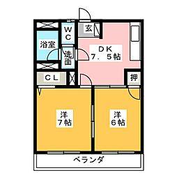 ハイネス名東[2階]の間取り