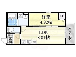 JR阪和線 堺市駅 徒歩10分の賃貸アパート 1階1LDKの間取り