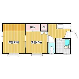 しなの鉄道 軽井沢駅 バス7分 高校前下車 徒歩3分の賃貸アパート 2階2Kの間取り