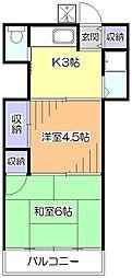 東京都東久留米市弥生1丁目の賃貸アパートの間取り