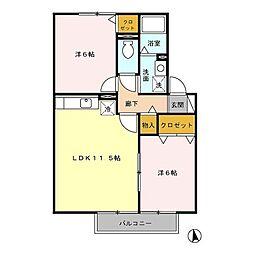 ソレーユA棟[2階]の間取り