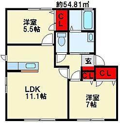 シャーメゾンHATA A棟[102号室]の間取り