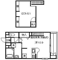 広島県広島市東区温品1丁目の賃貸アパートの間取り