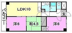 クオリティーハイツ尾崎[406号室]の間取り