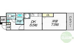 JR東海道・山陽本線 新大阪駅 徒歩5分の賃貸マンション 5階1DKの間取り
