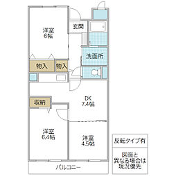 フローレスSUZUKI[302号室号室]の間取り