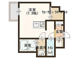 JR大阪環状線 玉造駅 徒歩8分の賃貸マンション 2階ワンルームの間取り