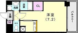 神戸市西神・山手線 新長田駅 徒歩3分の賃貸マンション 3階ワンルームの間取り