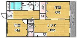 レオハイムKOYA[4階]の間取り
