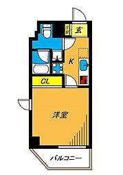 旗の台アパートメント 3階1Kの間取り