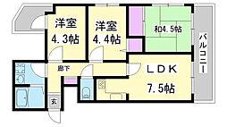 兵庫県神戸市兵庫区菊水町6丁目の賃貸マンションの間取り