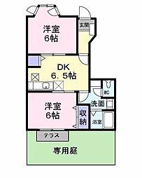 泉北高速鉄道 深井駅 徒歩21分の賃貸アパート 1階2DKの間取り