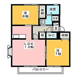 サニーガーデン谷戸D[2階]の間取り