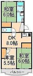 エクセルエステート吉田II[4階]の間取り