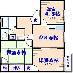 千葉県市川市国分2丁目の賃貸アパートの間取り