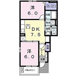 岡山県赤磐市桜が丘東5の賃貸アパートの間取り