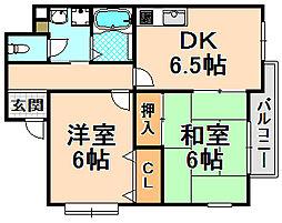 兵庫県伊丹市御願塚3丁目の賃貸マンションの間取り