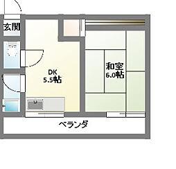 愛知県名古屋市名東区本郷2丁目の賃貸アパートの間取り