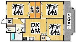 福岡県福岡市東区名島4丁目の賃貸マンションの間取り