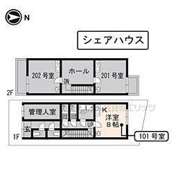 京阪本線 龍谷大前深草駅 徒歩4分の賃貸アパート 1階ワンルームの間取り