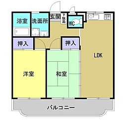 熊本県熊本市南区平田1丁目の賃貸マンションの間取り
